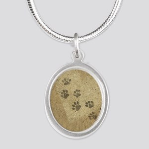 Paw Prints on our Hearts Silver Oval Necklace