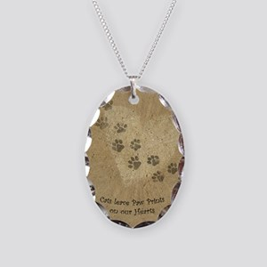 Paw Prints on our Hearts Necklace Oval Charm