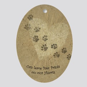 Paw Prints on our Hearts Oval Ornament
