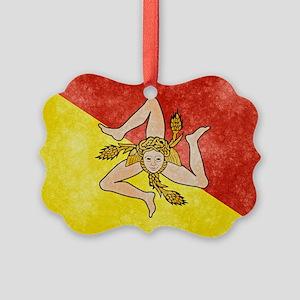 Sicily Flag Picture Ornament