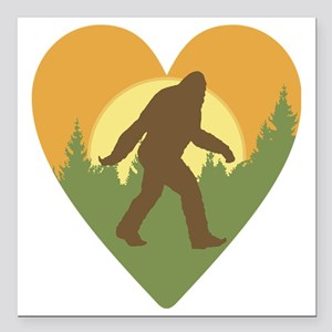 "Bigfoot Love Square Car Magnet 3"" x 3"""