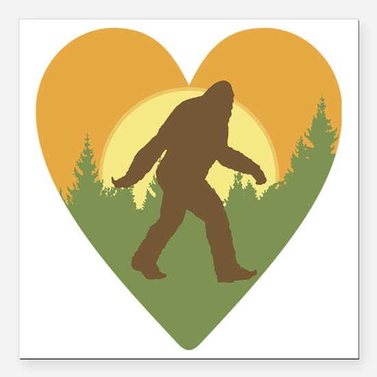 "Bigfoot Love Square Car Magnet 3"" x 3"""