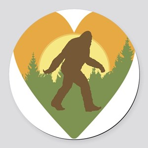 Bigfoot Love Round Car Magnet