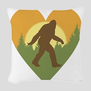 Bigfoot Love Woven Throw Pillow
