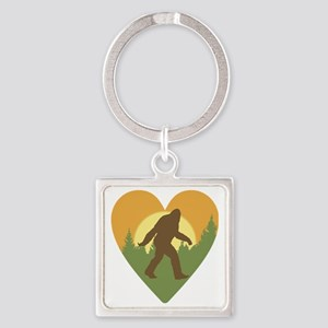 Bigfoot Love Square Keychain