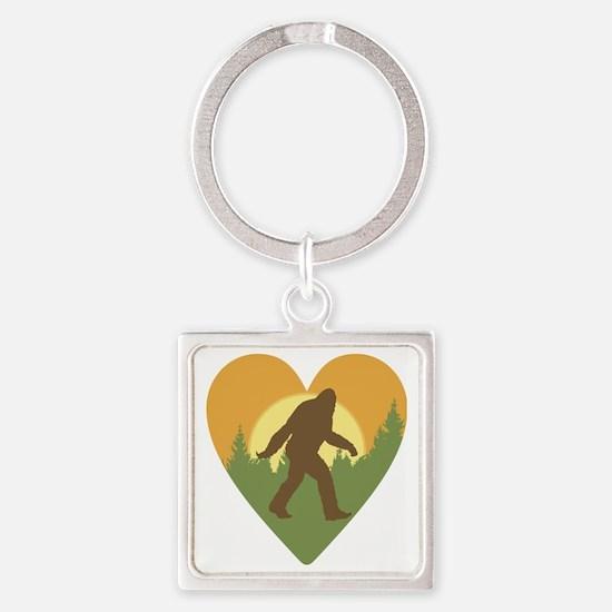 Bigfoot Love Square Keychain