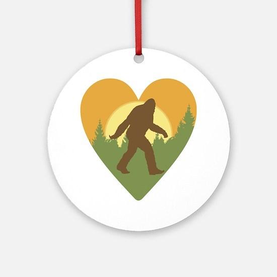 Bigfoot Love Round Ornament