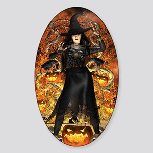Halloween Witch Sticker (Oval)