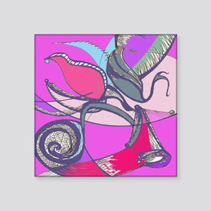 """Circus Feathers Square Sticker 3"""" x 3"""""""