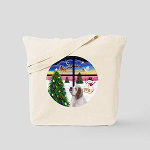 R-XmasWindow-ClumberSpaniel Tote Bag