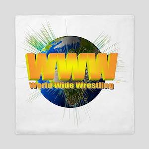 World Wide Wrestling Logo Blast White Queen Duvet