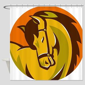 horse stallion head retro Shower Curtain