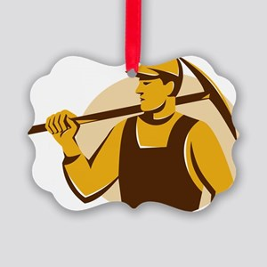 miner worker with pick ax retro Picture Ornament