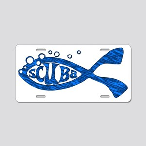 Scuba Fish Blues Aluminum License Plate