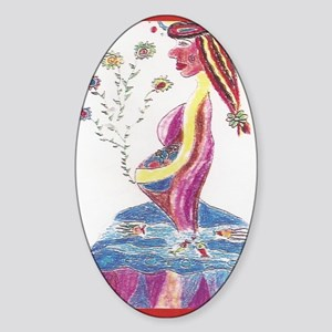 Pregnant Mermaid Sticker (Oval)