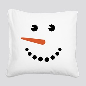 Snowman Face Funny Square Canvas Pillow
