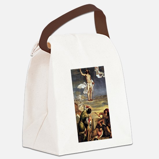 The Resurrection - Titian - c1542 Canvas Lunch Bag