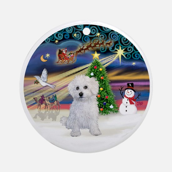 Bolognese puppy Round Ornament