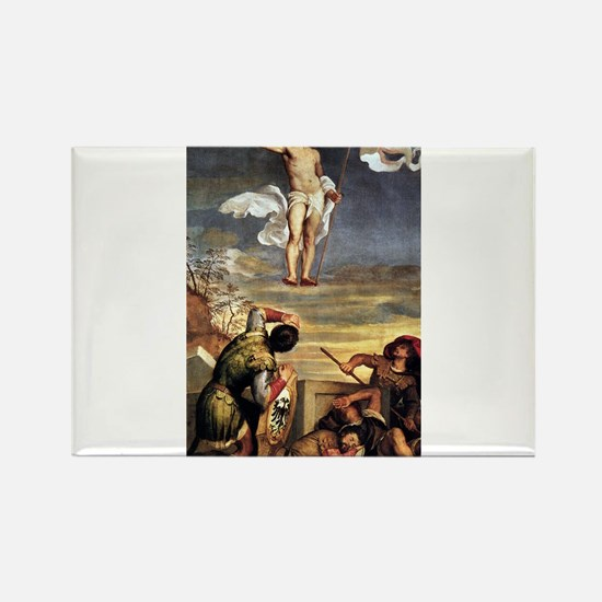 The Resurrection - Titian - c1542 Rectangle Magnet