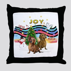 Two Dachshunds Throw Pillow