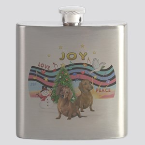 Two Dachshunds Flask