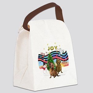 Two Dachshunds Canvas Lunch Bag