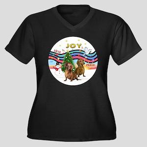 Two Dachshun Women's Plus Size Dark V-Neck T-Shirt