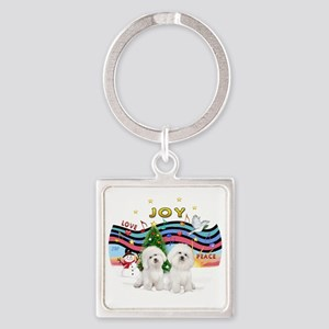Two Bichons Square Keychain