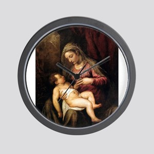Virgin and Child - Titian - c1560 Wall Clock
