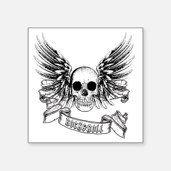 "RockRoll Skull Square Sticker 3"" x 3"""