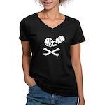 Time Flies, Having Rum Women's V-Neck Dark T-Shirt