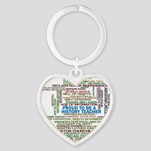 Proud History Teacher Heart Keychain