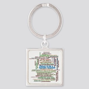 Proud History Teacher Square Keychain
