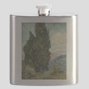 Cypresses - Van Gogh - c1889 Flask