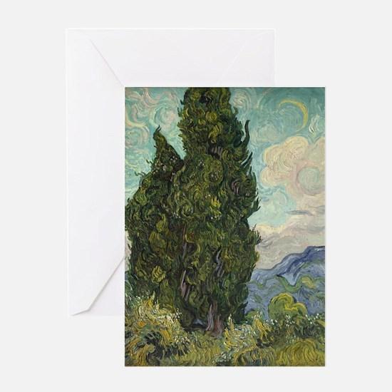 Cypresses - Van Gogh - c1889 Greeting Card