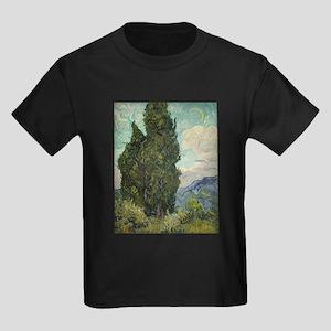 Cypresses - Van Gogh - c1889 Kids Dark T-Shirt