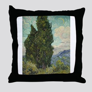 Cypresses - Van Gogh - c1889 Throw Pillow