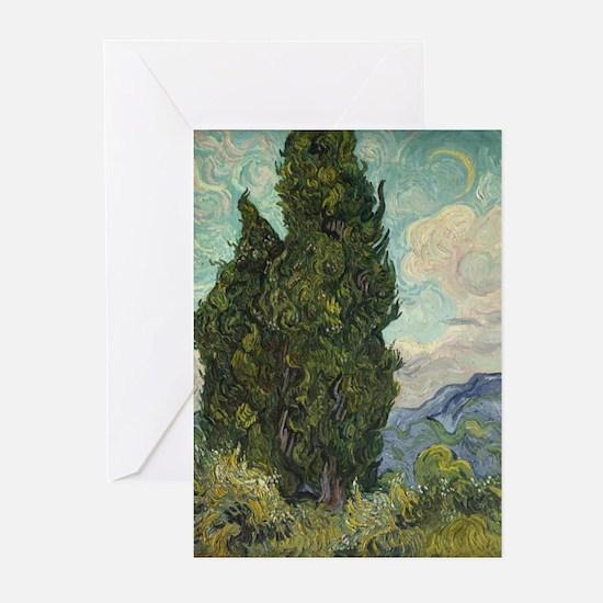 Cypresses - Van Gogh - c1889 Greeting Cards (Pk of