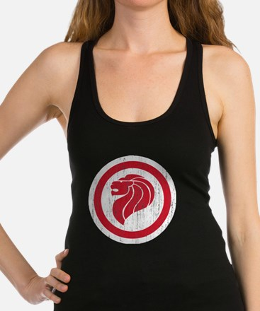 Singapore Lion Roundel Aged Racerback Tank Top