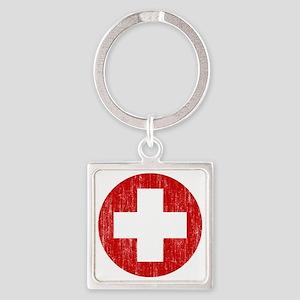 Switzerland Roundel Aged Square Keychain