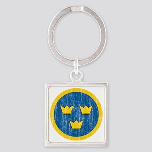 Sweden Roundel Aged Square Keychain