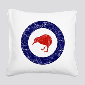 New Zealand Roundel Cracked Square Canvas Pillow
