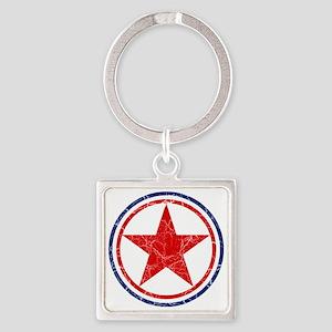 North Korea Roundel Cracked Square Keychain