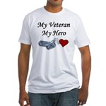 My Veteran My Hero Dog Tags Fitted T-Shirt