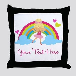 Personalized Ballerina Girl rainbow Throw Pillow