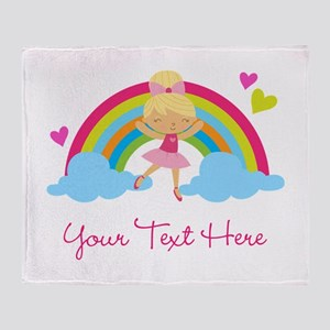 Personalized Ballerina Girl rainbow Throw Blanket