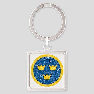 Sweden Roundel Cracked Square Keychain
