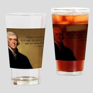 Thomas Jefferson Money Quote Drinking Glass