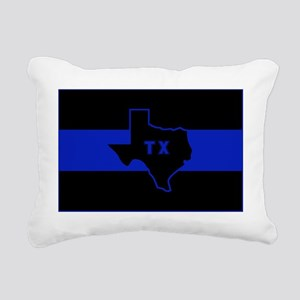 Thin Blue Line - Texas Rectangular Canvas Pillow