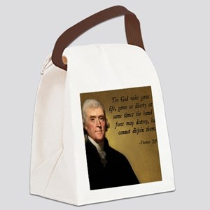 God and Liberty Quote Canvas Lunch Bag